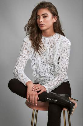 Lipsy Lace Trim Insert Long Sleeve Shell Top - 6 - White