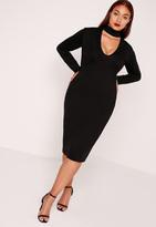 Missguided Plus Size Choker Neck Longline Bodycon Dress Black