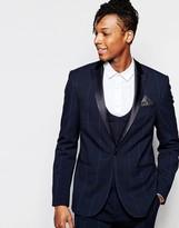 Asos Skinny Suit Jacket In Check In Navy