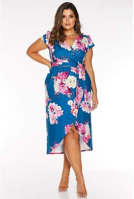 Quiz Curve Teal and Pink Floral Cap Sleeve Wrap Dress