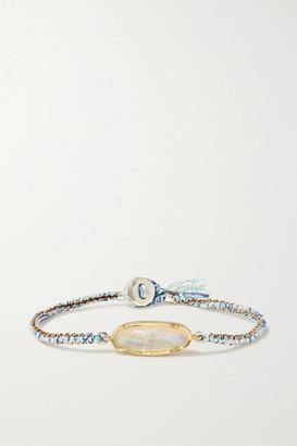 Brooke Gregson Icicle 14-karat Gold, Sterling Silver, Silk And Moonstone Bracelet - one size