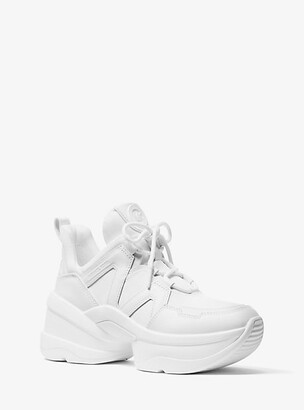 Michael Kors Olympia Canvas and Leather Trainer