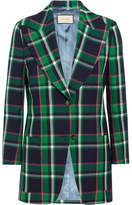 Gucci Embellished Tartan Wool Blazer - Green