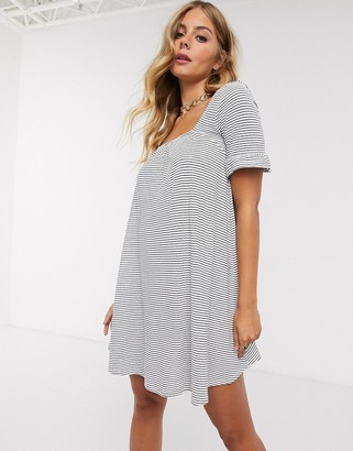 ASOS DESIGN square neck frill sleeve smock dress in navy and cream stripe