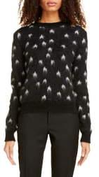 Saint Laurent Star Jacquard Mohair Blend Sweater
