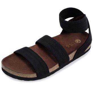 shoeslocker Women's Slide Sandals Open Toe Elastic Ankle Strap Sandals Casual Flat Sandals Black Size 8