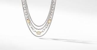 David Yurman Four Row Mixed Chain Bib Necklace With 18K Yellow Gold