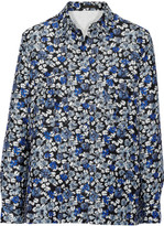 Mother of Pearl Ray printed cotton and silk-blend top