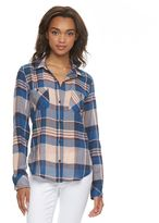 Mudd Juniors' Button-Front Shirttail Top