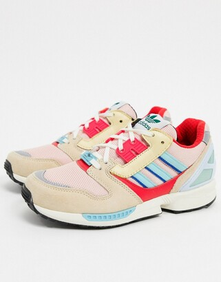 adidas ZX 8000 trainers in pink and red