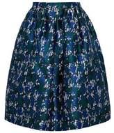 Oscar de la Renta Pleated Silk And Cotton-Blend Jacquard Skirt