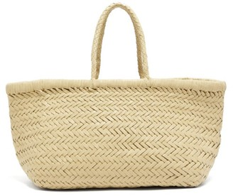 Dragon Optical Diffusion - Triple Jump Small Woven-leather Basket Bag - Womens - Cream