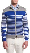 Kiton Multi-Striped Full-Zip Jacket, Gray/Blue/White