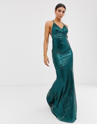 Club L London plisse sequin cami maxi dress-Green