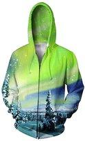 RAISEVERN Men UFO Cat Hoodie Hipster Hip Hop Zip Front Hoodies Pullover Sweater