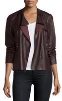 Bagatelle Asymmetric Cropped Leather Trench Jacket, Raisin
