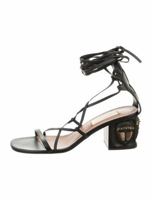 Valentino Tribal Mask Lace-Up Sandals Black