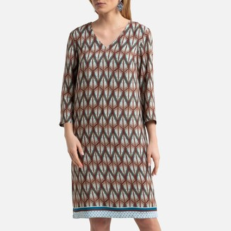 Anne Weyburn Printed Shift Dress with 3/4 Length Sleeves