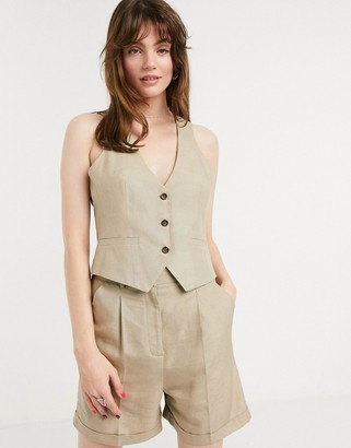 ASOS DESIGN scoop neck suit two-piece suit vest in taupe