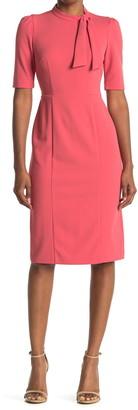 Donna Morgan Mock Neck Tie Quarter Sleeve Sheath Dress