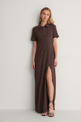NA-KD Recycled Crepe Jersey Button Dress
