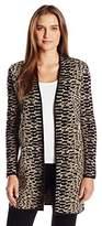 Rafaella Women's Misses Lurex Jacquard Cardigan Sweater