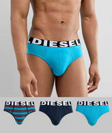 Diesel Logo 3 Pack Stripe Briefs