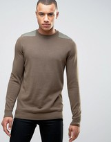 New Look Sweater With Patch Detail In Mid Brown