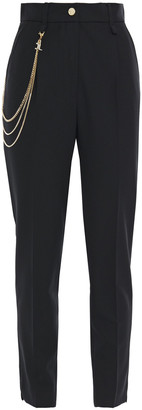 Just Cavalli Cropped Chain-trimmed Pleated Woven Tapered Pants