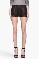 Mackage Black Leather Ibbie Stretch Shorts