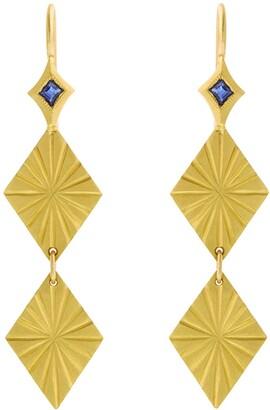 Cathy Waterman Blue Sapphire Estrella Double Yellow Gold Earrings