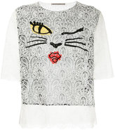 Ermanno Scervino cat face lace top - women - Silk/Polyamide/Viscose - 40