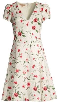 Michael Kors V-Neck Floral Jacquard Dress