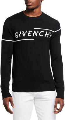 Givenchy Men's Split-Logo Wool Sweater