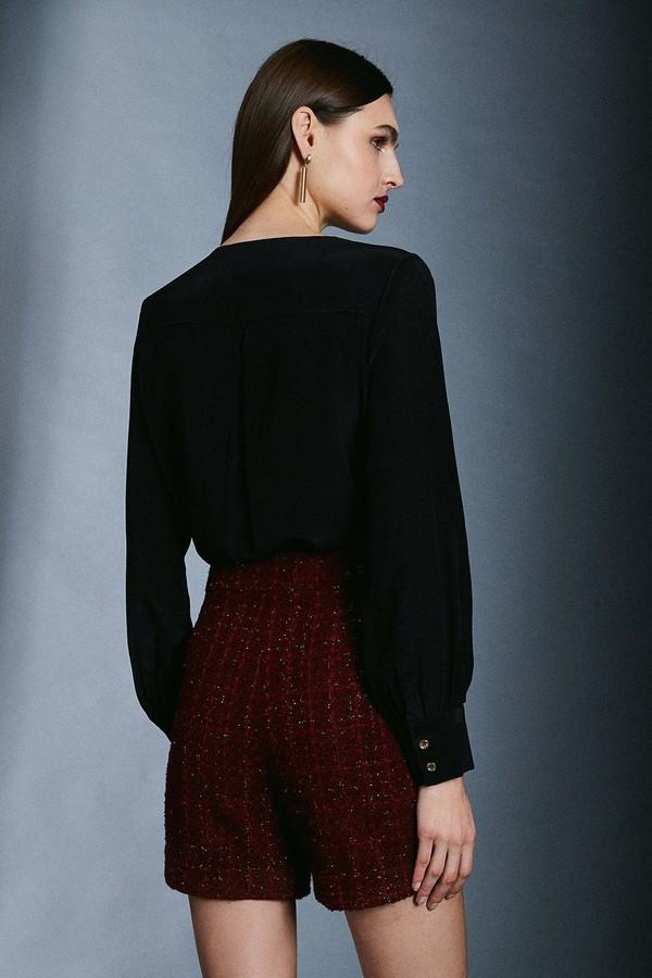 Thumbnail for your product : Karen Millen Sparkle Tweed Button Detail Short