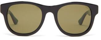 Gucci Web Stripe-arms Square Acetate Sunglasses - Mens - Black