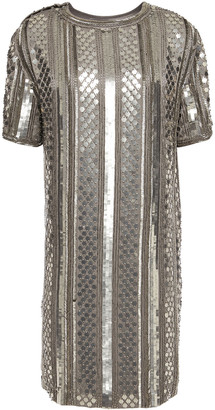 Alberta Ferretti Embellished Satin-crepe Mini Dress
