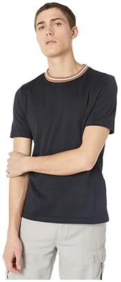 Eleventy Stripe Detail Crew Neck T-Shirt (Camel) Men's Clothing