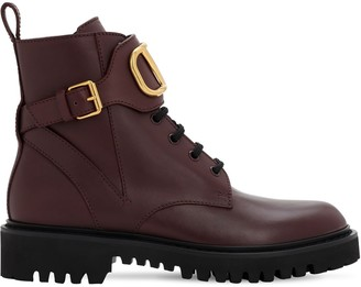 Valentino 35mm Vlogo Leather Combat Boots