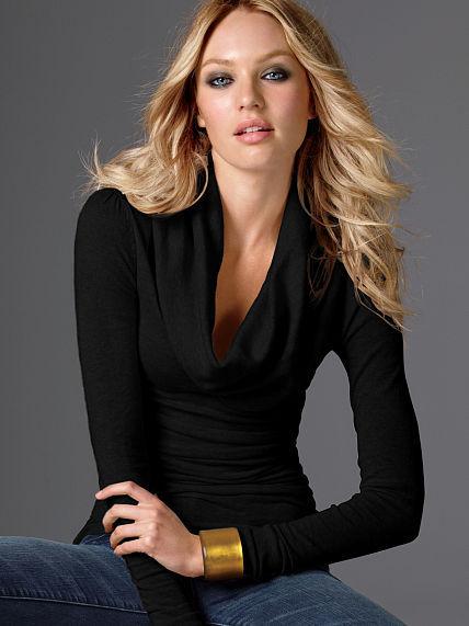 Victoria's Secret Ruched Cotton Cowlneck Sweater