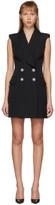 Balmain Black Grain De Poudre 4-Button Sleeveless Dress
