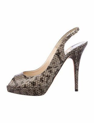 Jimmy Choo Snakeskin Animal Print Slingback Sandals Grey