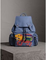 Burberry The Large Rucksack in Deerskin with Beasts Motif, Blue