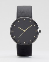 Asos Watch In Black With Gold Highlights