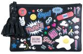 Anya Hindmarch sticker clutch bag - women - Leather/Suede - One Size