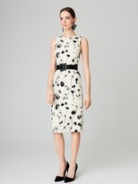 Oscar de la Renta Tossed Poppies Wool-Crepe Pencil Dress