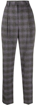Alberta Ferretti Tartan High-Waist Trousers