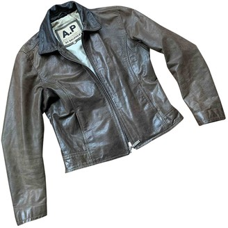 Non Signé / Unsigned Non Signe / Unsigned Khaki Leather Jackets