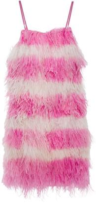 MSGM Feather-embellished Georgette Mini Dress