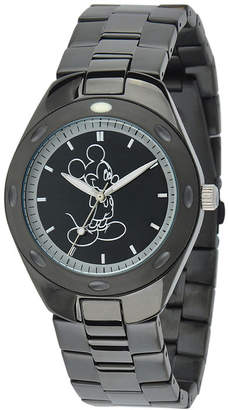 Character Disney Mickey Mouse Mens Black Stainless Steel Watch